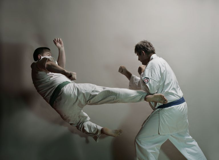 Two men practicing karate kicks