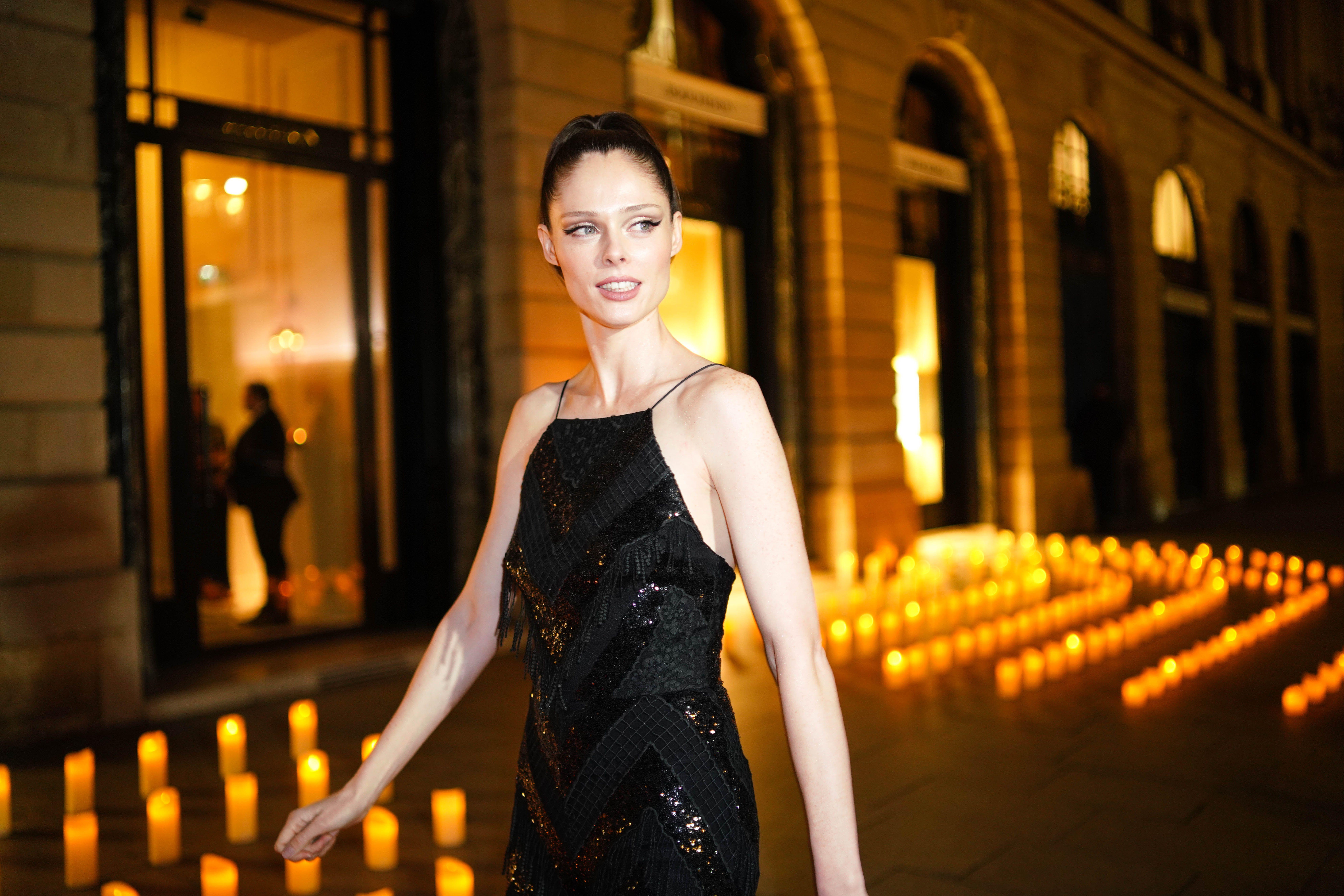 Model Coco Rocha outside Boucheron, during a Paris Fashion Week