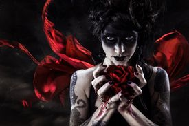 Fantasy Woman with Bloody Rose