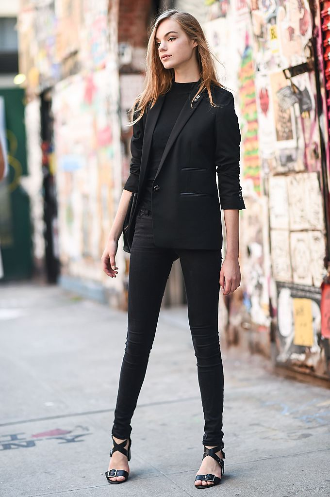 Black skinny jeans and black blazer street style 50f79d7d2