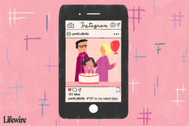 An illustration of how #TBT is used on a smart phone.