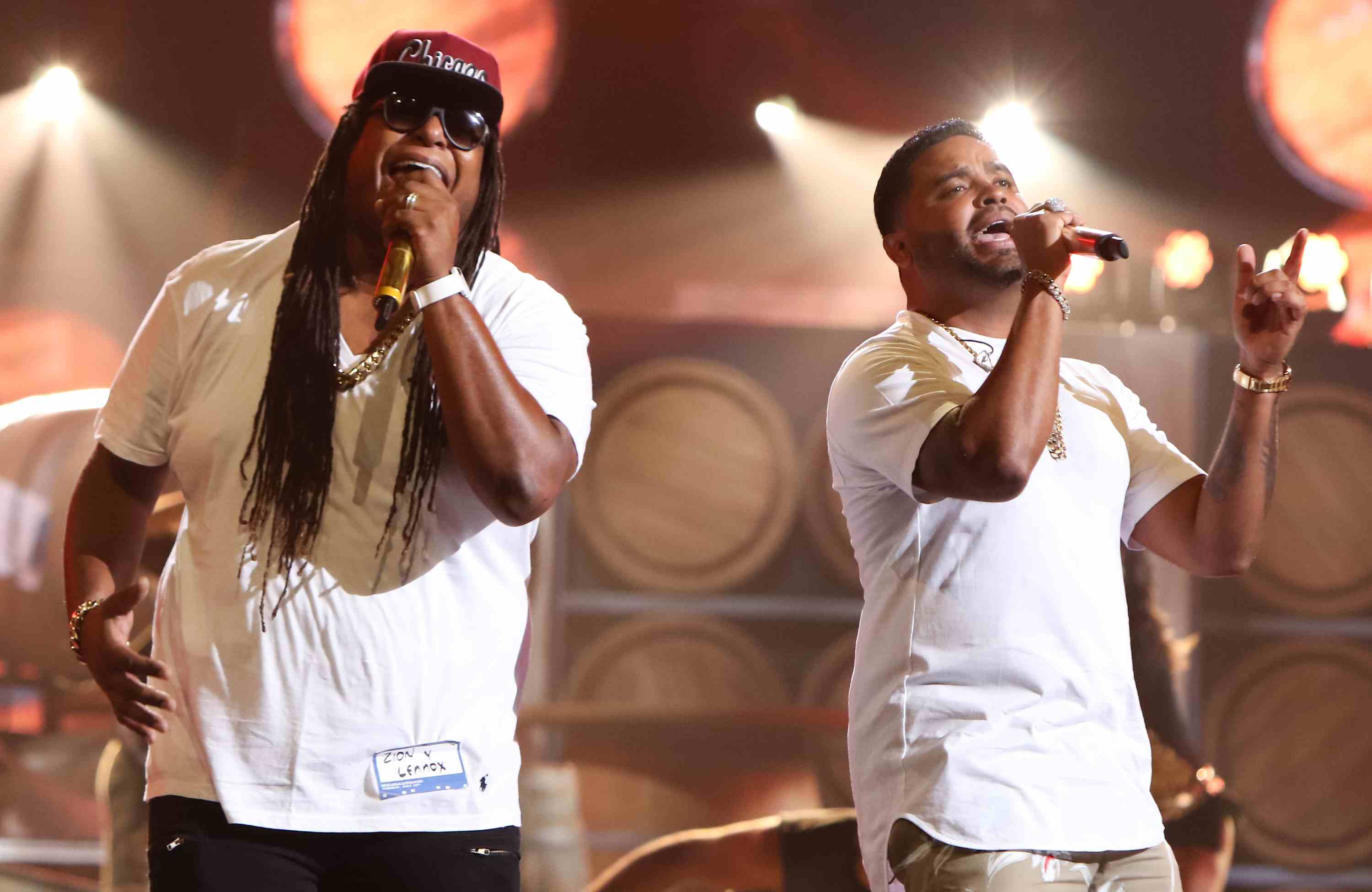 Zion Y Lennox perform during Univisions Premios Juventud Awards Rehearsals - Day 1 at Bank United Center on July 11, 2016 in Miami, Florida.