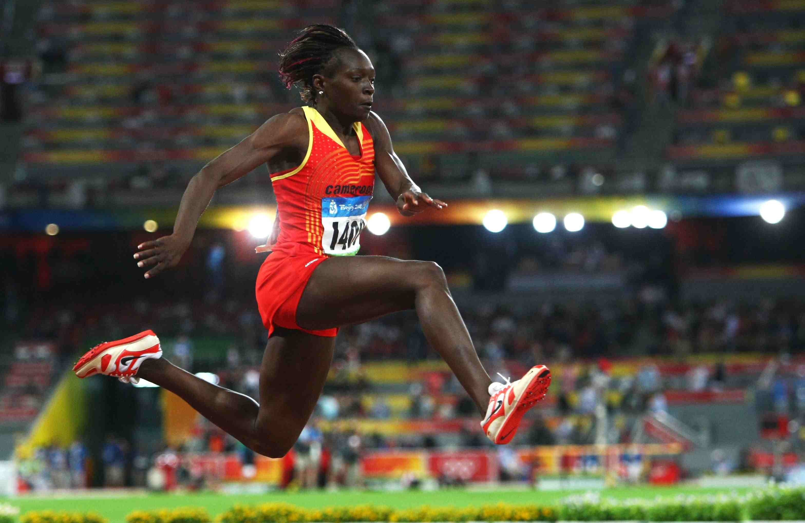 Francoise Mbango Etone, on her way to victory during the 2008 Olympic triple jump final.