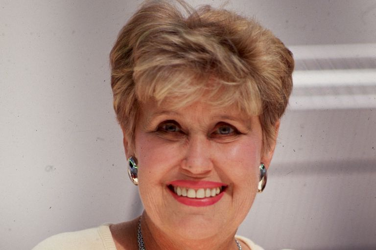 Erma Bombeck close up, color photograph.