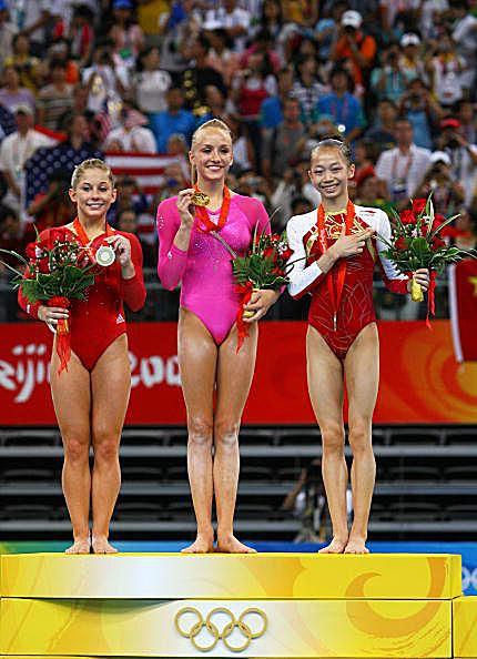 Nastia Liukin, Shawn Johnson and Yang Yilin on the Medal Podium for Gymnastics at the 2008 Olympics