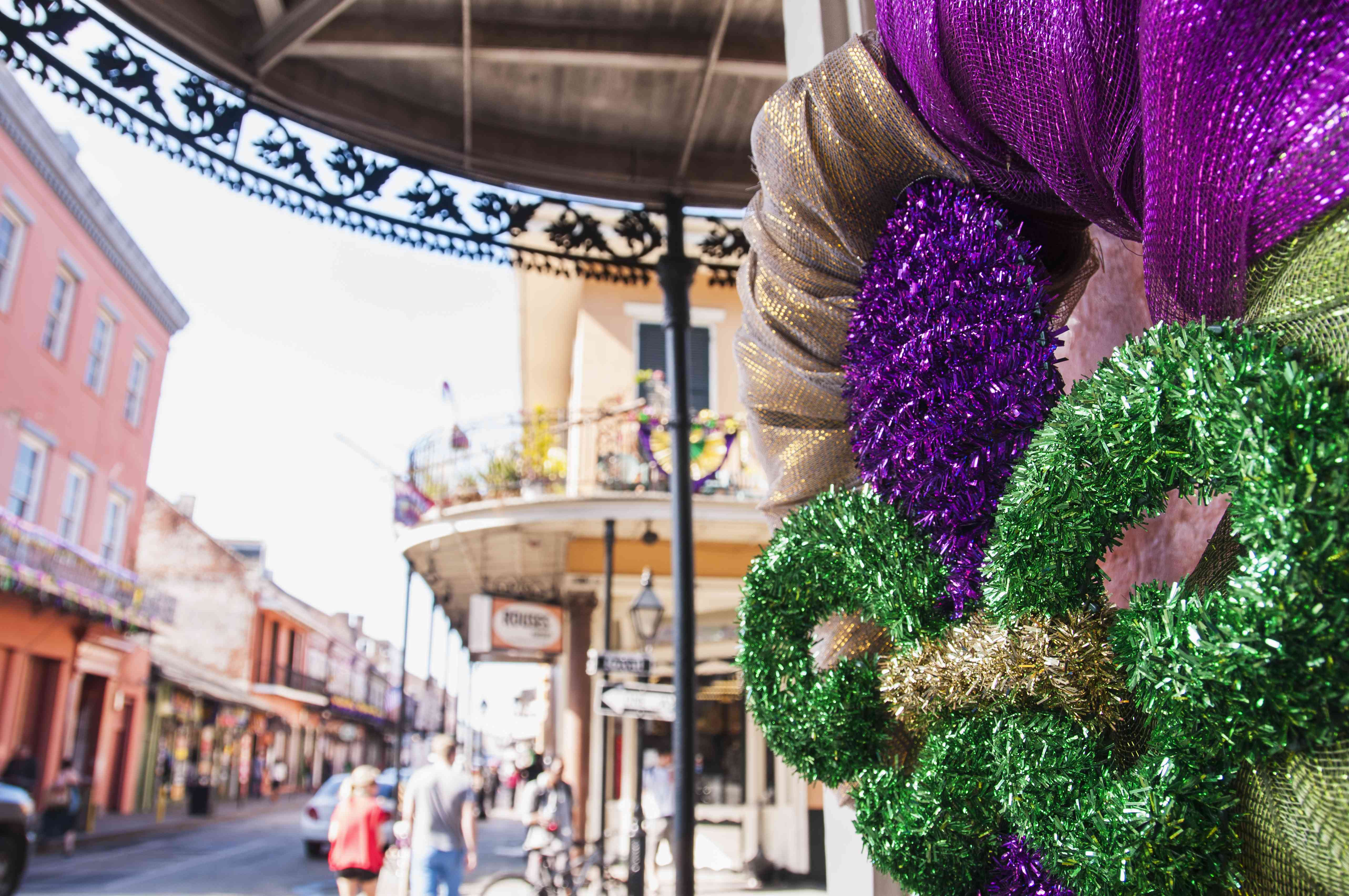 USA, New Orleans, Louisiana, Fleur de Lys and street in background