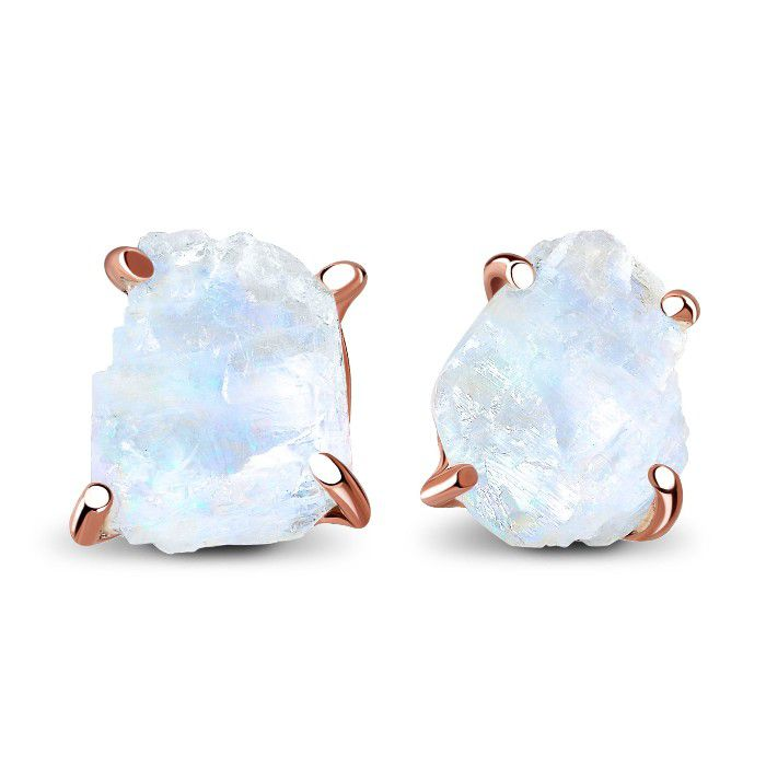 Raw moonstone rose gold stud earrings