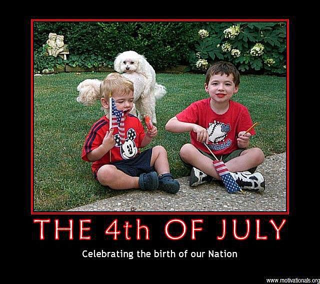 Dogs photobomb a 4th of July photo of two boys