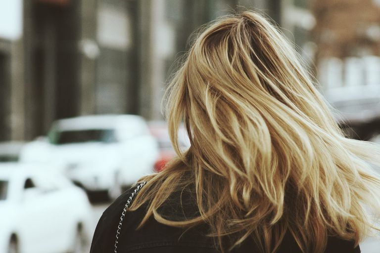 Back of head of woman with blonde hair