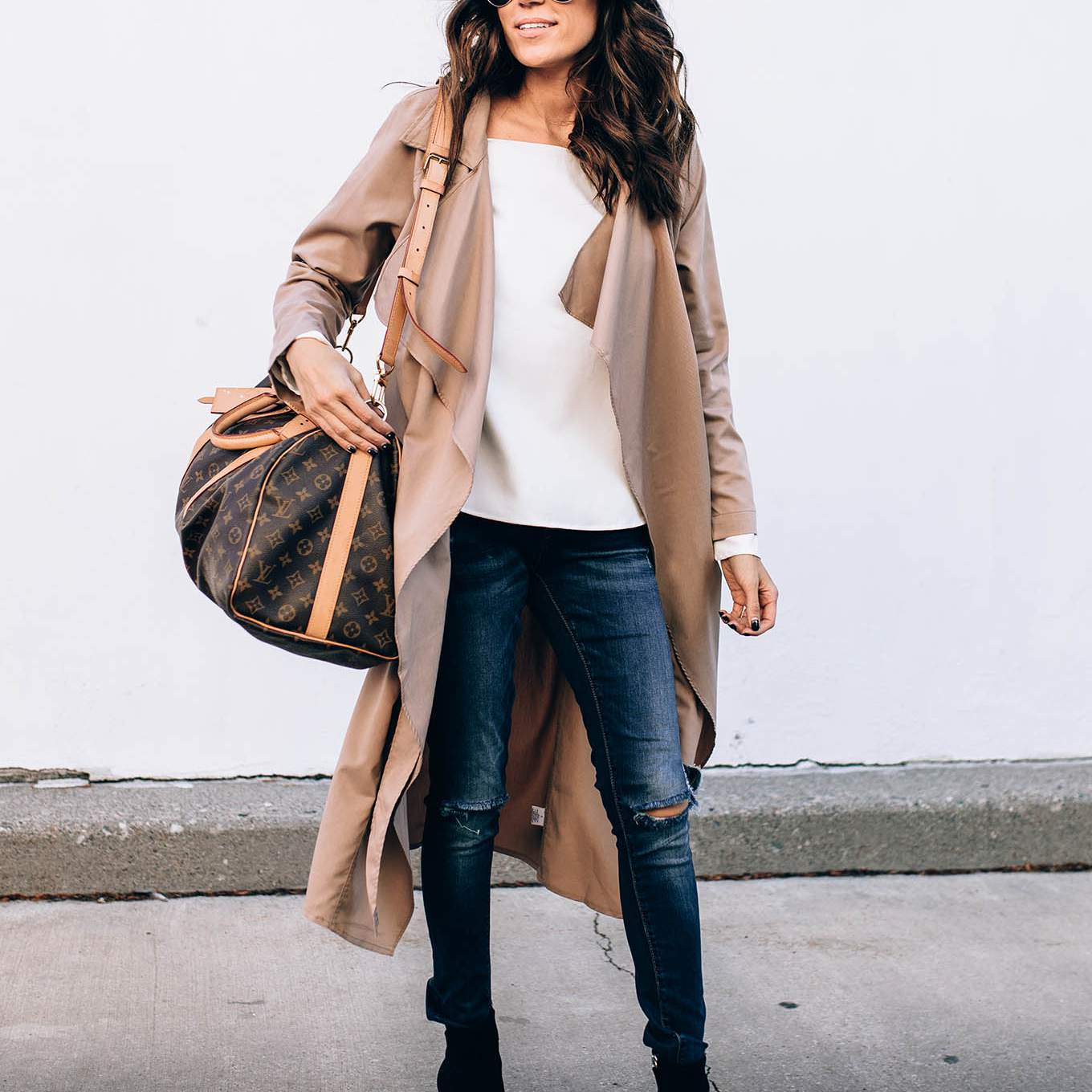 Waterfall coat and skinny jeans outfit