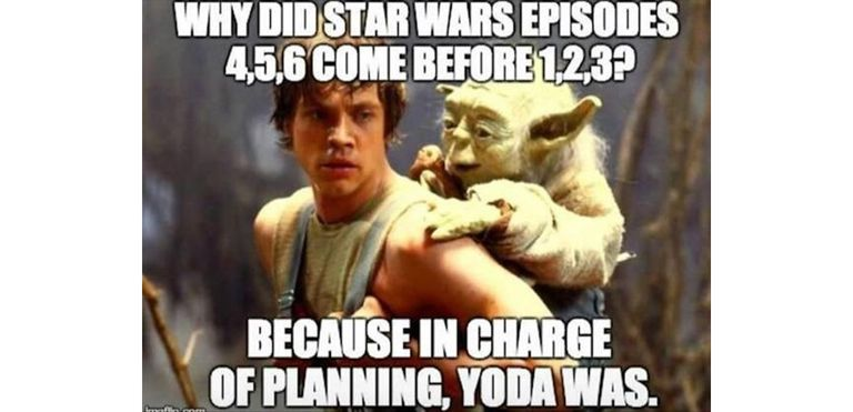 Yoda being carried by Luke meme