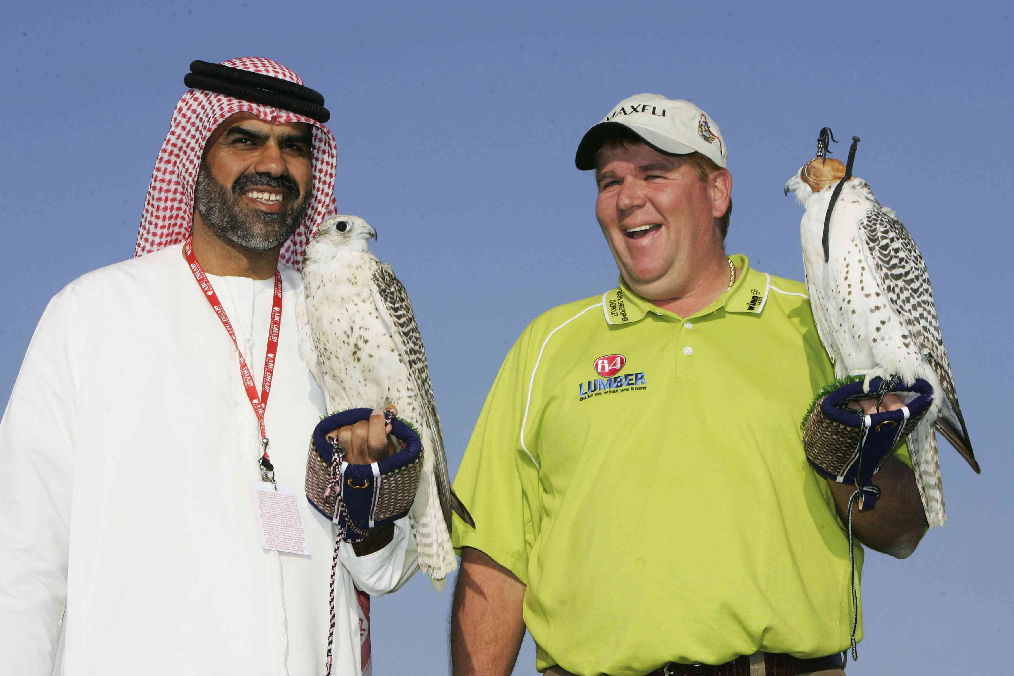 ohn Daly of the USA holds a falcon during a falcon show as a preview for the Abu Dhabi Golf Championship on the National Course at Abu Dhabi Golf Club on January 17, 2006