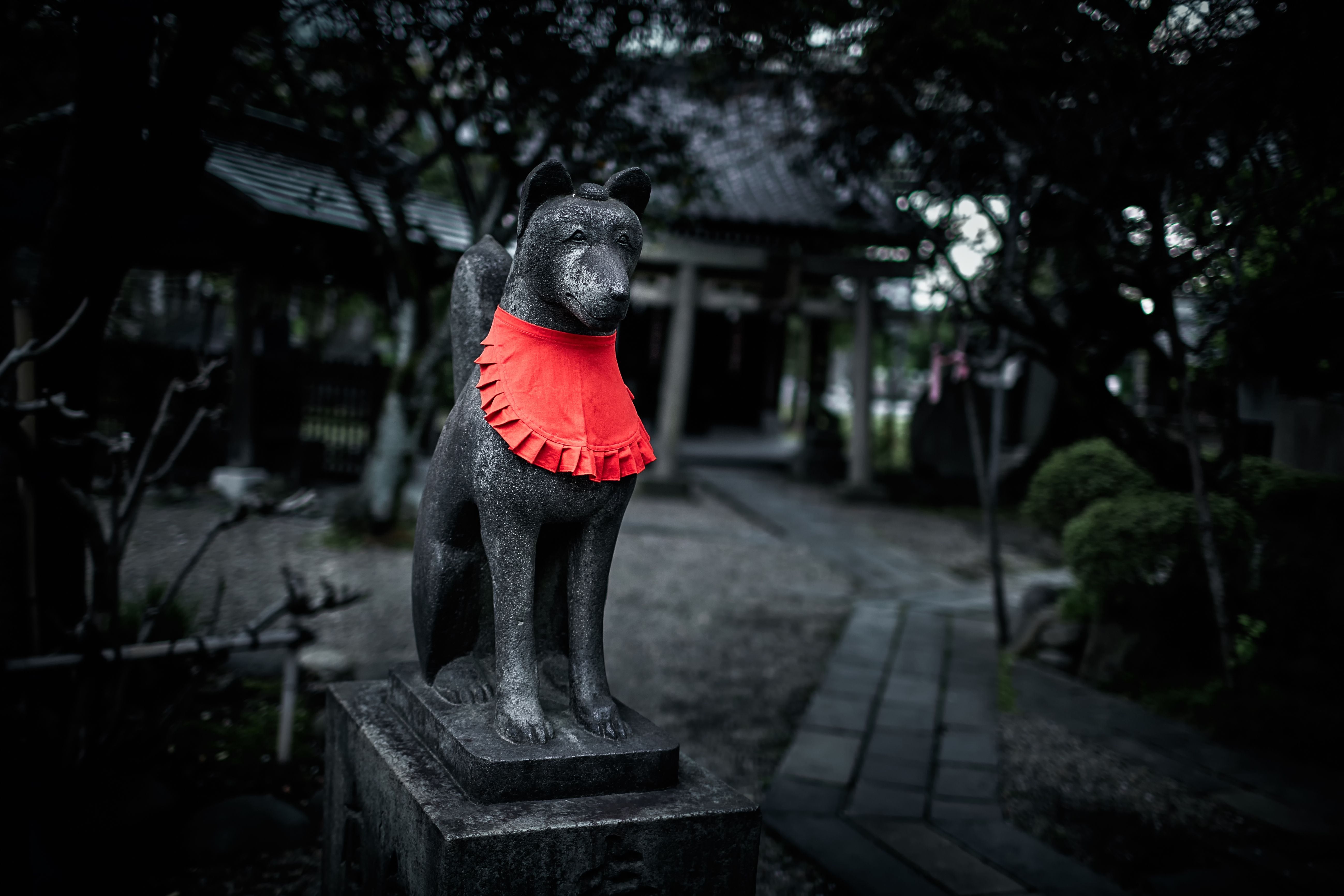 In Japanese shrines, fox statues may be adorned with red bibs as a sign of devotion and connection to the Kitsune.