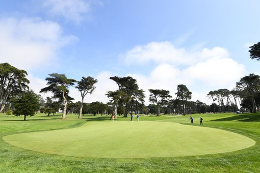 A group plays a hole during the 2019 Stephen Curry Charity Classic presented by Workday at TPC Harding Park on September 16, 2019 in San Francisco, California.
