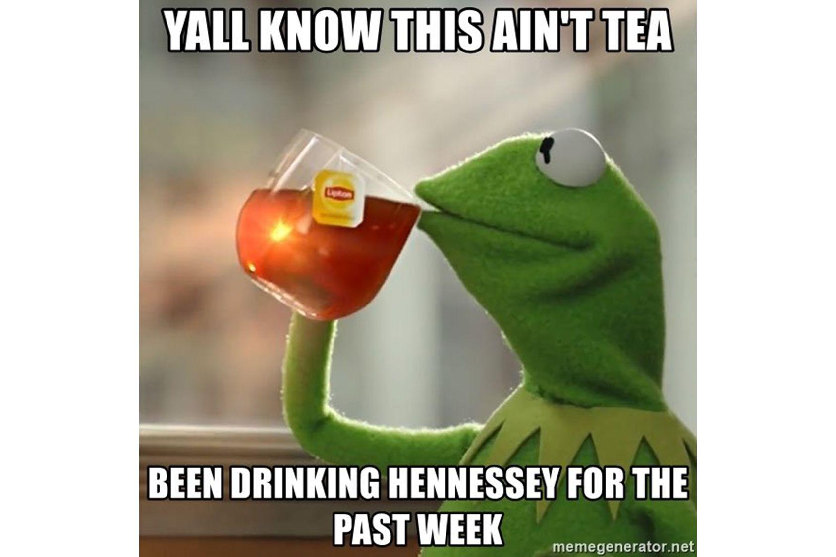 Kermit drinking Hennessey