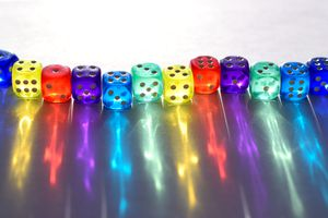 Picture of a Row of Brightly-Colored Dice
