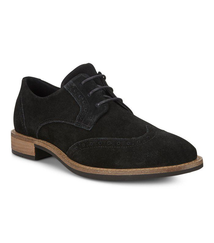 Black suede wingtip shoes with wooden heel and sole