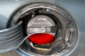 the fuel filler cap on a typical automobile