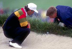 Corey Pavin's bad lie under the lip of a bunker in the 1992 US Open
