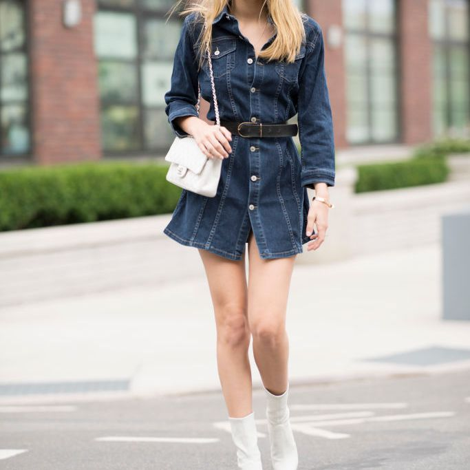 Street style in denim dress
