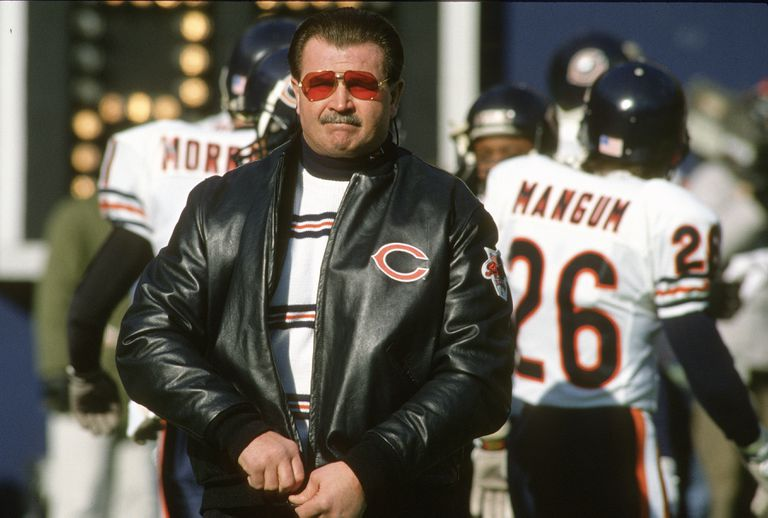 Mike Ditka on the field as the head coach of the Chicago Bears.