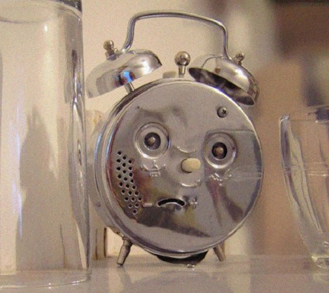 alarm clock that looks like a face