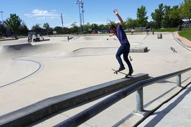 Skateboarder on a grind box