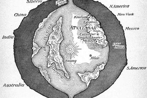 A cross-sectional drawing of the planet Earth showing the