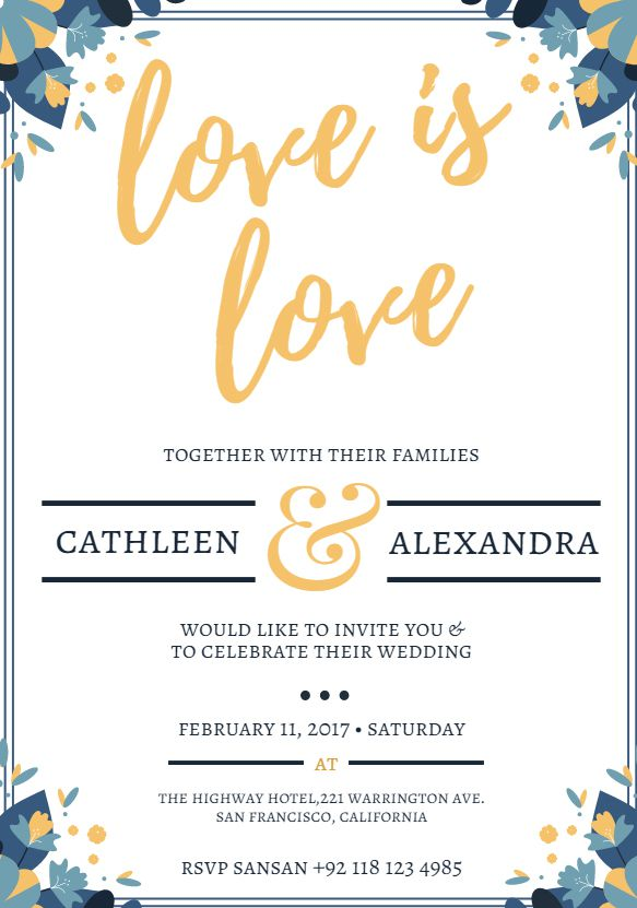 """A free wedding invitation template that says """"love is love"""""""