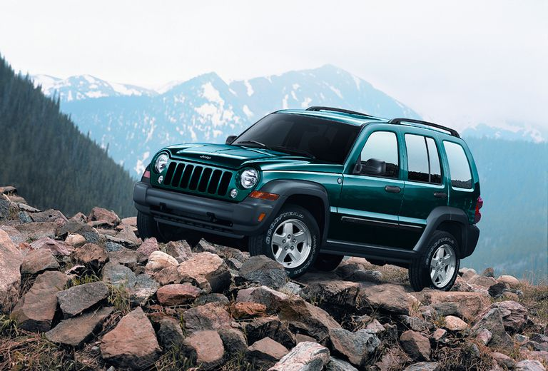 2006 Jeep Liberty on top of a mountain in rocks