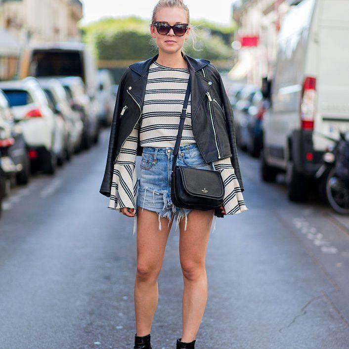Street style denim shorts and leather jacket