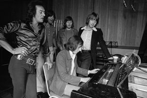 English pop group The Hollies in a recording studio, 1st September 1973.