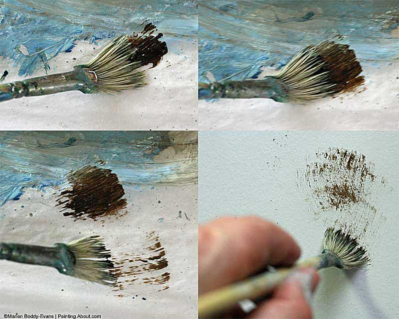 Photo of how to dry brush with a fan brush