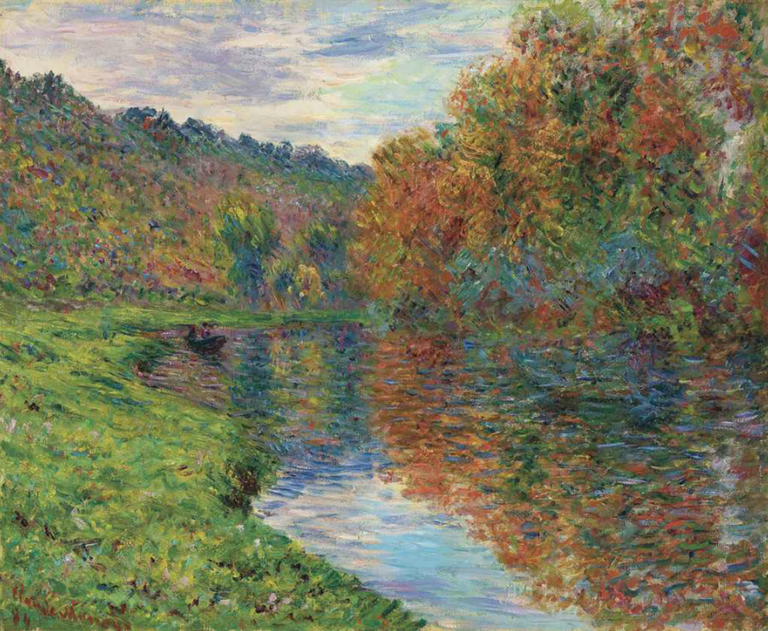 An impressionist painting of a lakeside