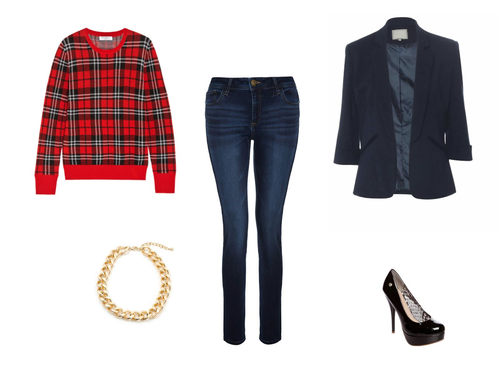 Jeans and a plaid sweater