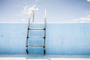Pool ladder in empty pool