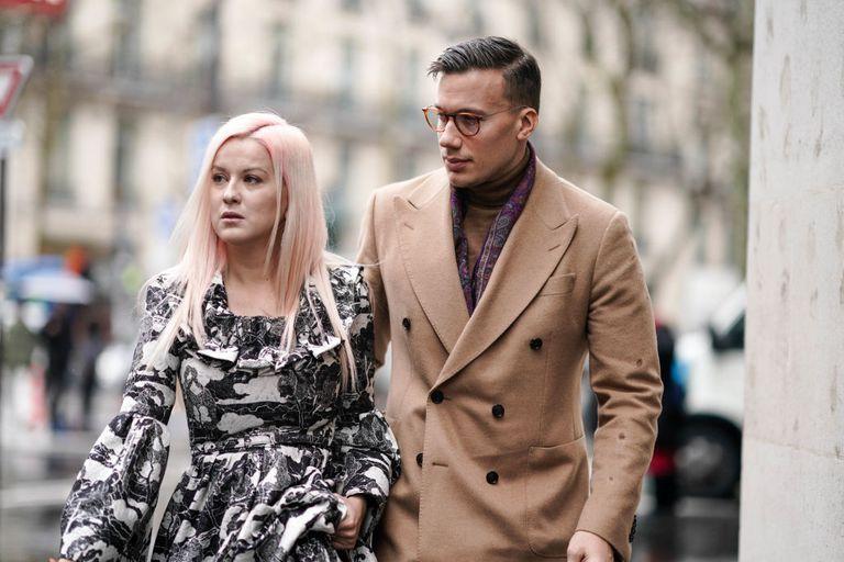 Couple Walking Paris Fashion Week
