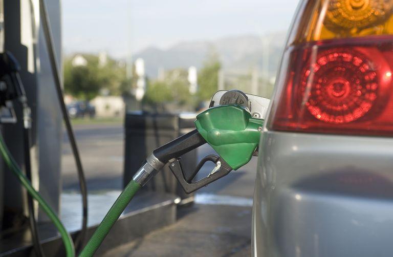 gas pump in a car