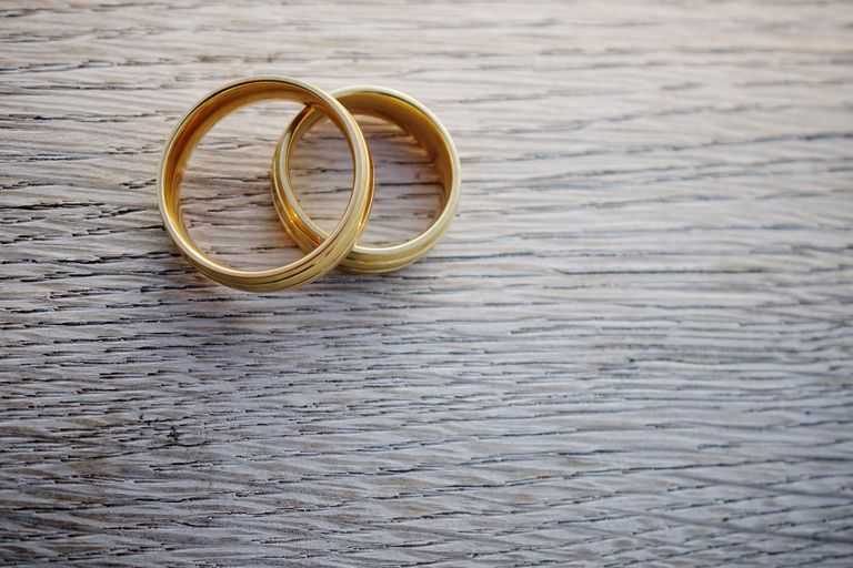 A pair of gold wedding rings on a wooden table.