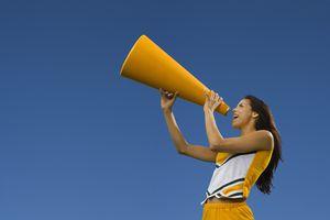 cheerleader leading chant