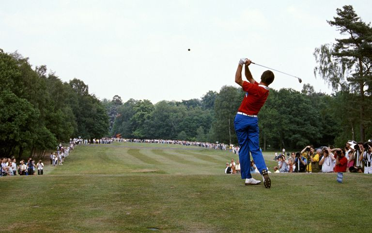 Nick Faldo teeing off during 1989 Volvo PGA Championship at Wentworth