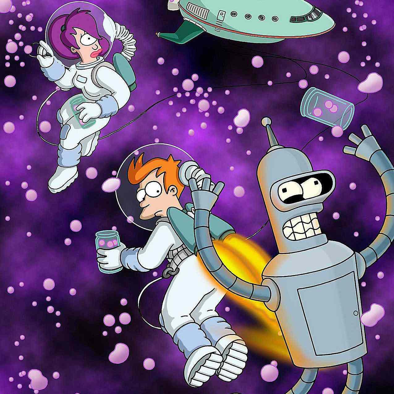 Futurama - Leela, Fry, Bender in Space