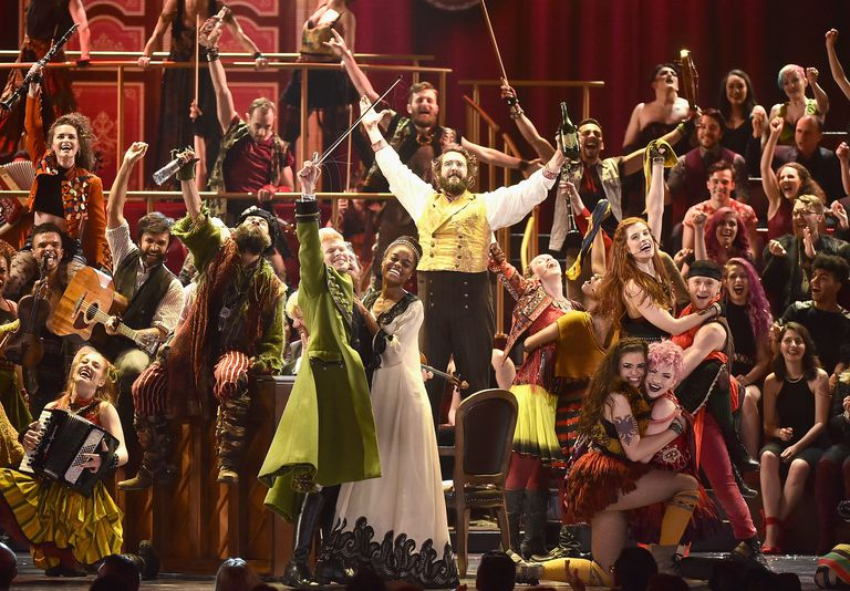 The cast of The Great Comet hits their ending pose