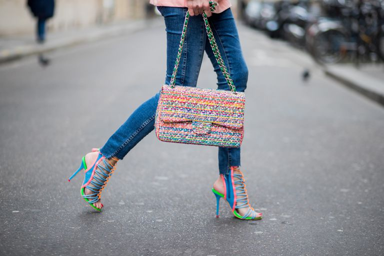 4607341a4 Colorful high heels and jeans street style fashion