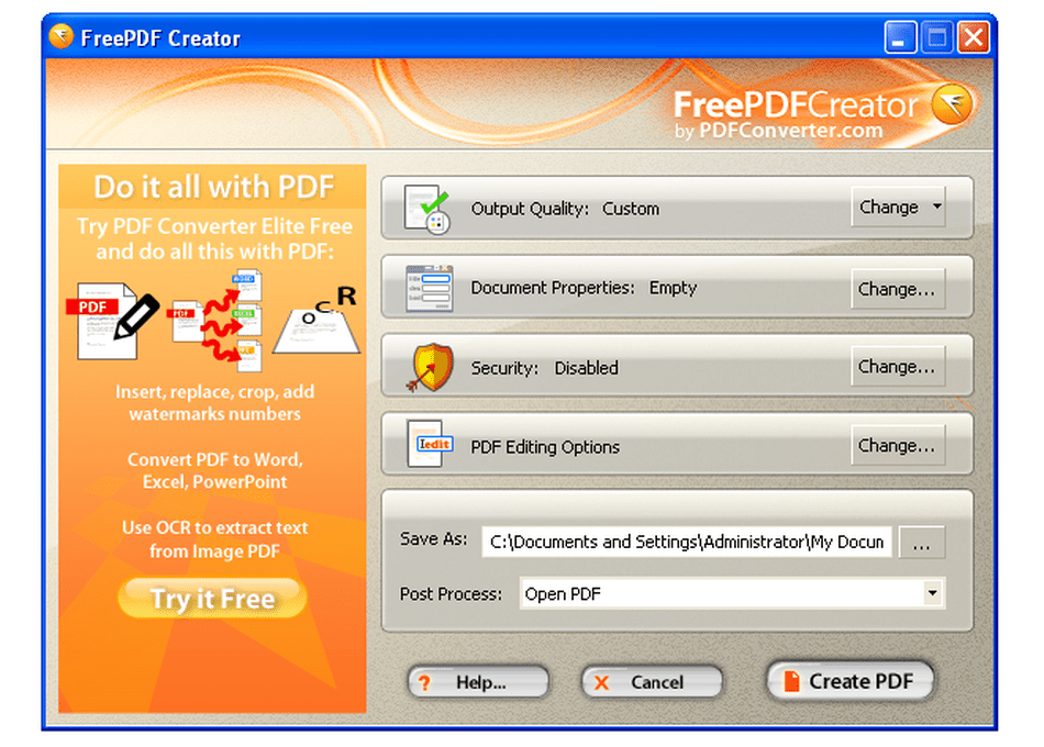 pdf creator free download for windows xp