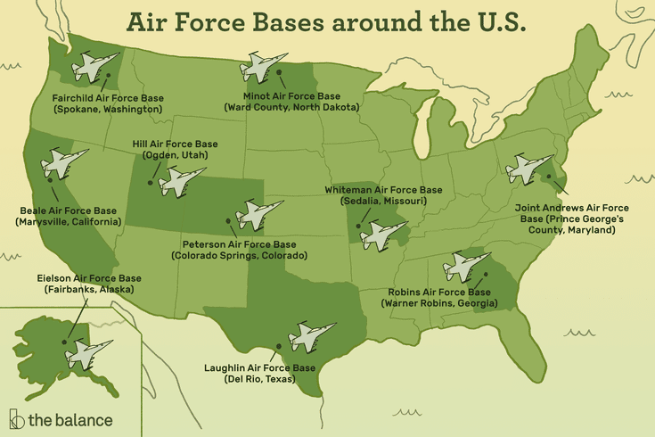 U S Air Force Major Bases And Installations