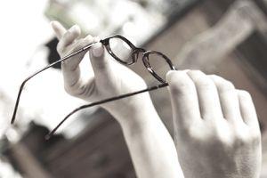 Eyeglasses held up