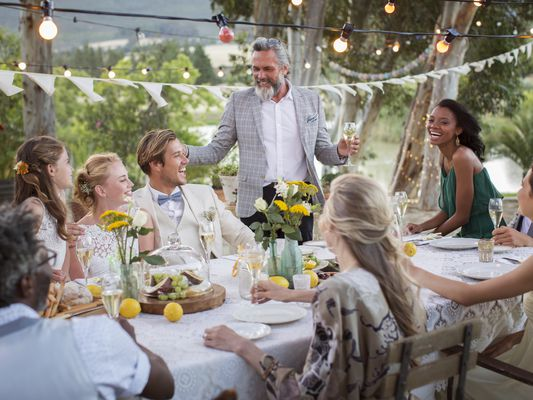 wedding party in back yard