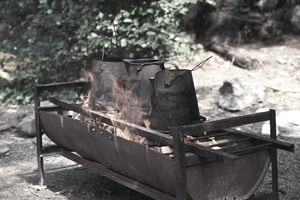 Cooking fire in old barrel