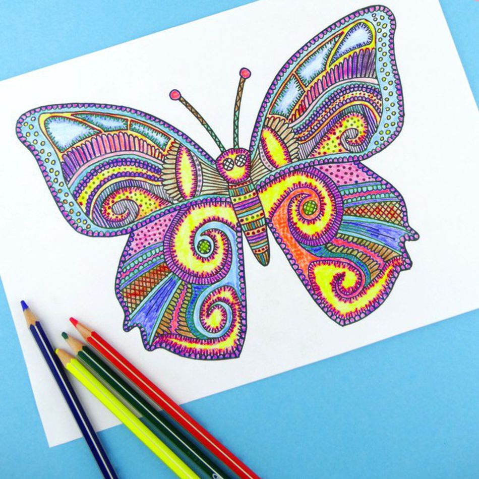A Coloring Page For An Adult With Picture Of Butterfly On It